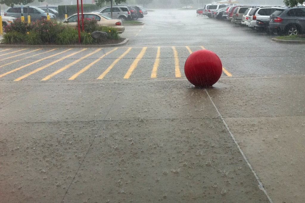 Someone left their ball out in the pouring rain