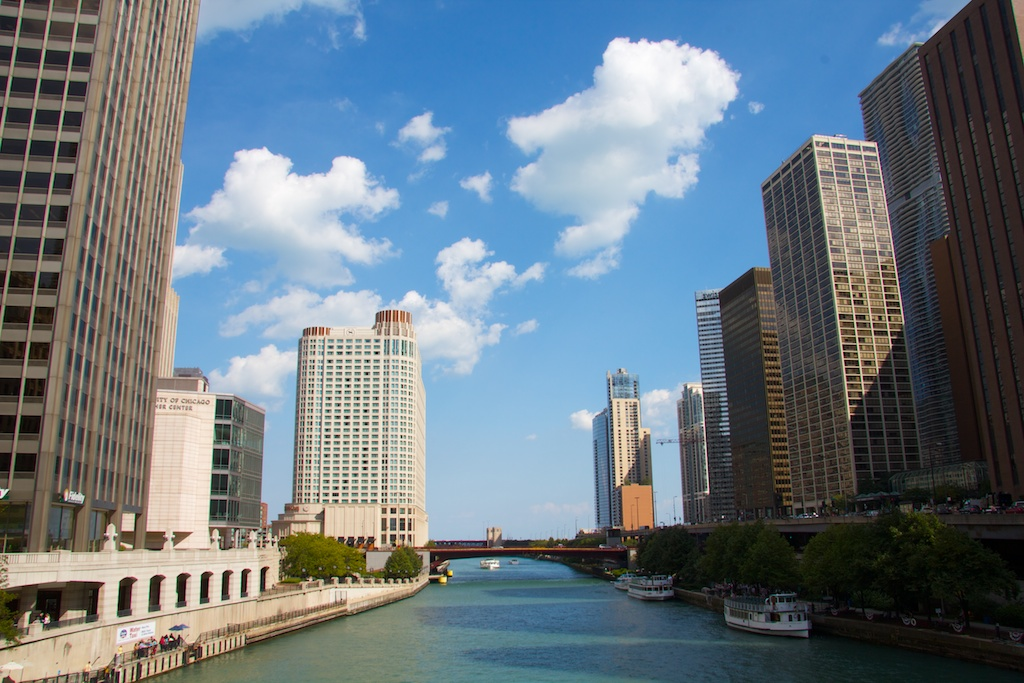 Chicago river looking east from DuSable bridge